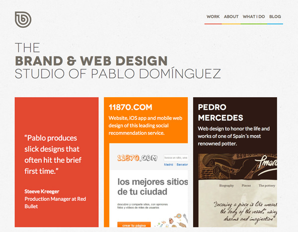 studio website layout homepage flat interface