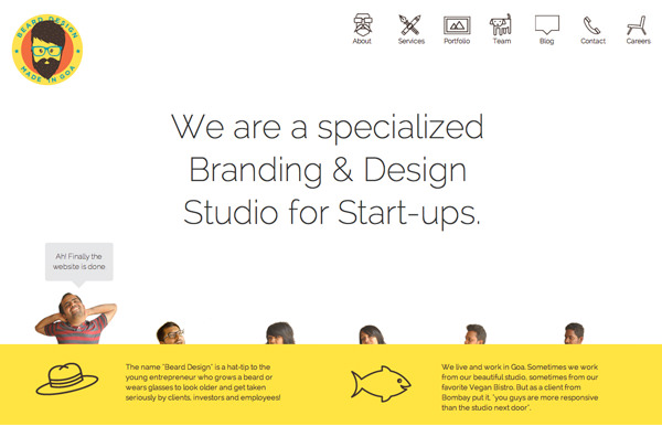 flat yellow white design agency homepage
