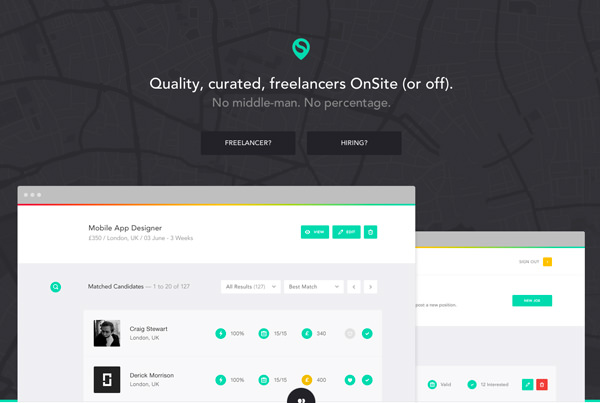 onsite quality curated freelancers flat homepage design
