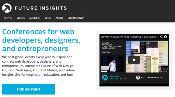 website design startups conference futureinsights flat layout
