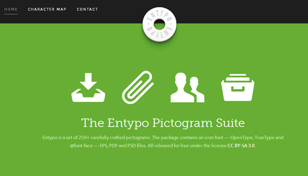 entypo flat icons website homepage layout