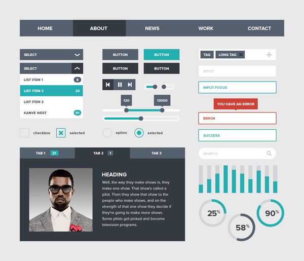 devin schulz freebie flat website ui psd