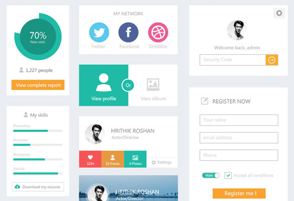 flat website user interface kit webdesigner depot psd