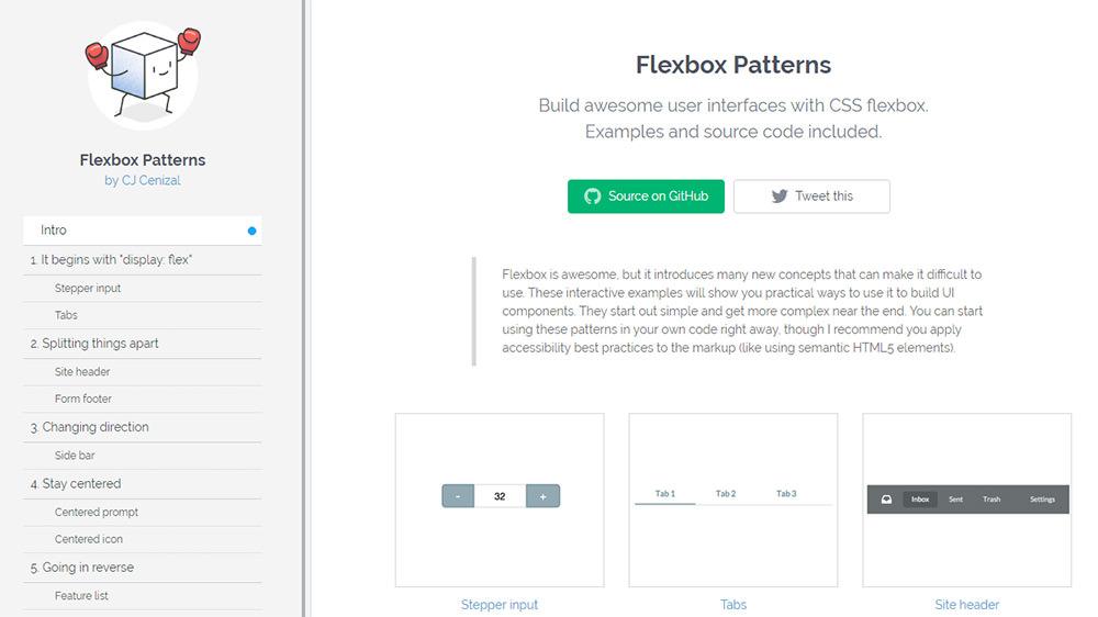 flexbox patterns homepage