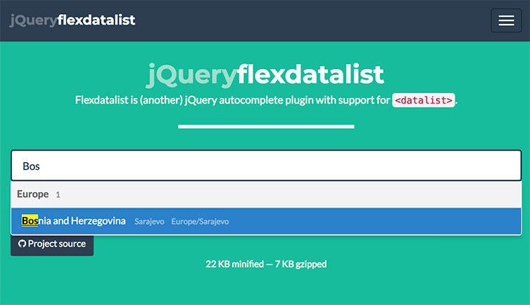 Flexdatalist jQuery plugin
