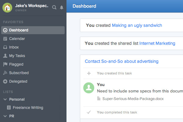 flow dashboard task management workspace screenshot
