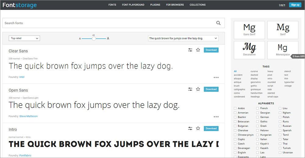 Fontstorage font examples