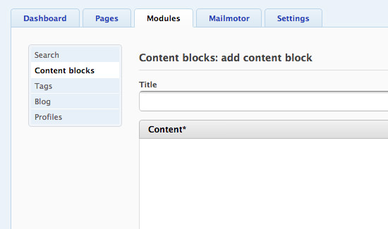 Creating content blocks modules in Fork CMS