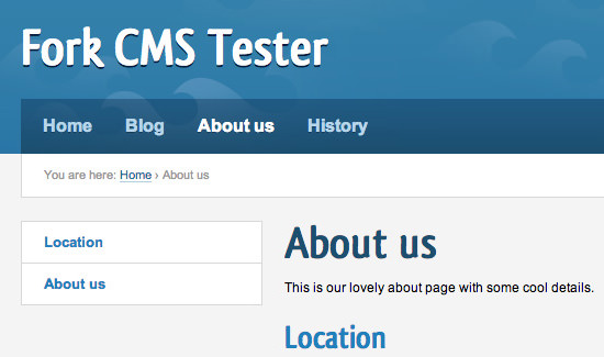 Fork CMS Triton theme template default installation