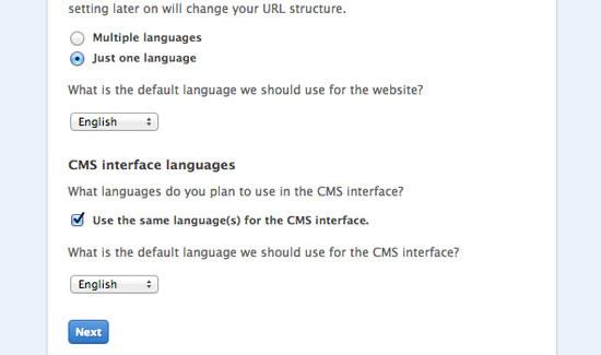 Install Fork CMS step 1 - language configuration