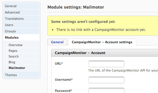 Campaign Monitor account connect with Fork CMS Mailmotor