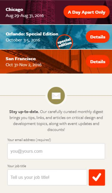 An Event Apart Newsletter Form on Mobile