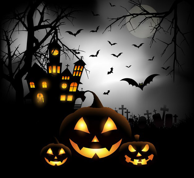 pumpkins in cemetery
