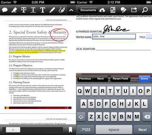 Adobe Reader for iPhone and iPad