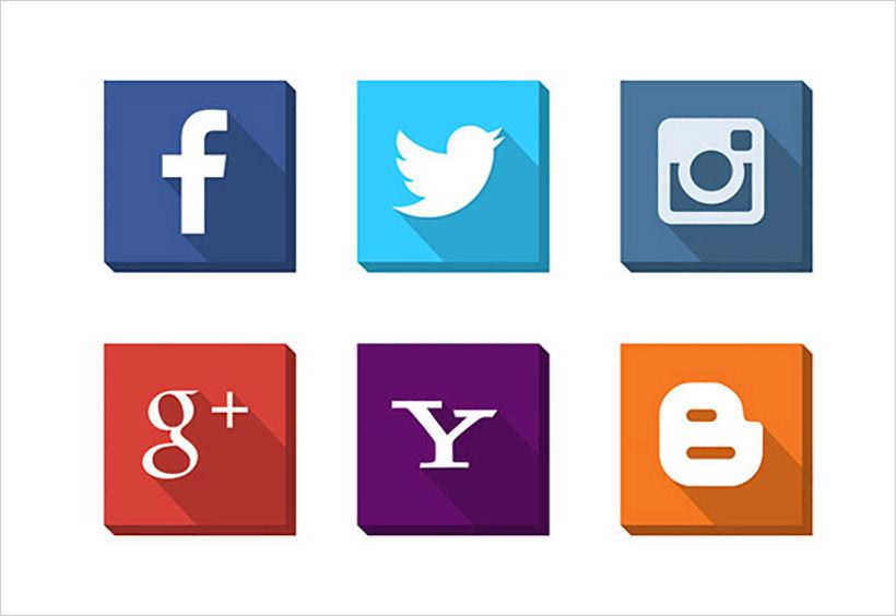 3D Social Media Flat Icons