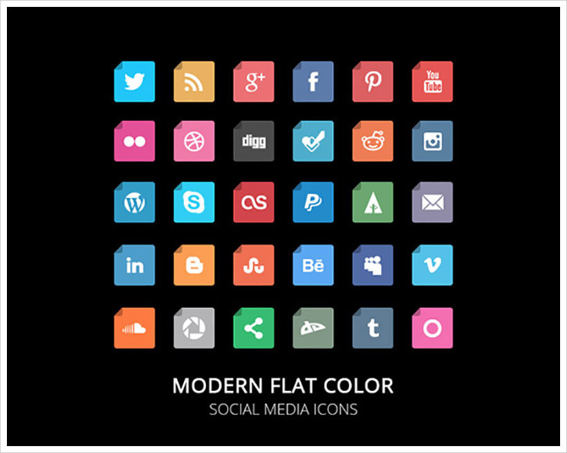 Flat color Social Media icons set
