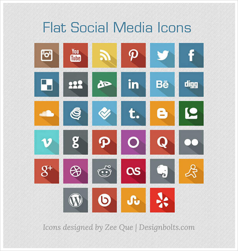 Long Shadow Flat Social Media Icons