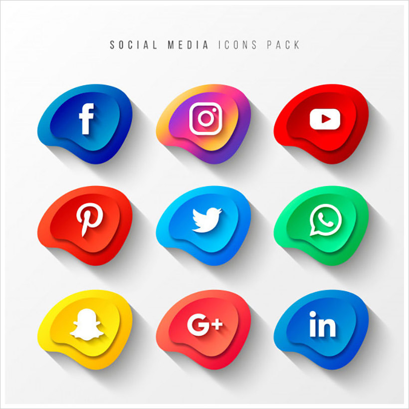Social Media Icons Pack 3D Button