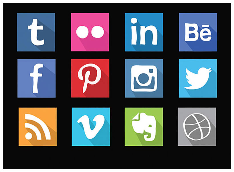 Social media hand drawn flat icons