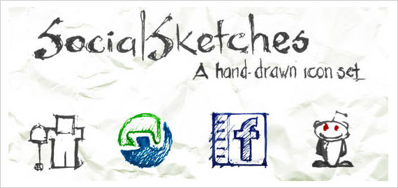 Social Sketches Icon Set