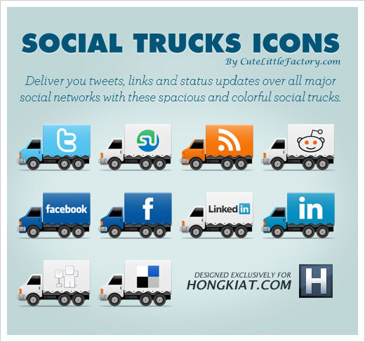 Social Truck Icon Set