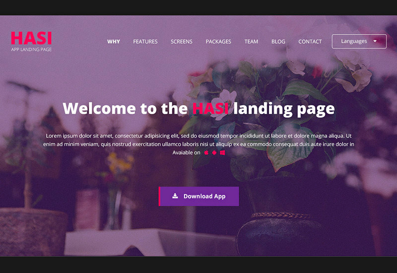 Hasi: Flat Landing Page PSD Bootstrap Template