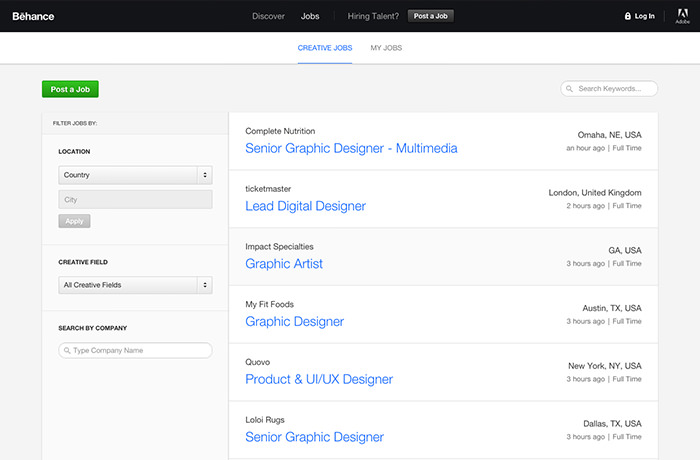 Behance Job List