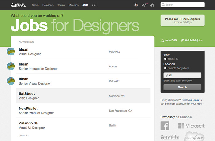 Dribbble Job List