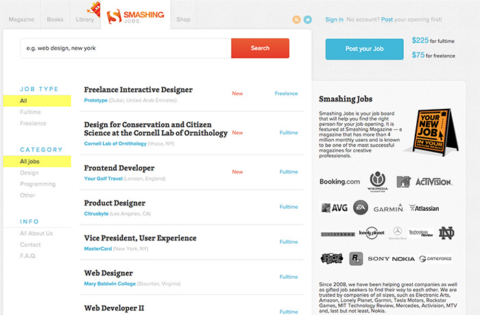 lance job sites for designers programmers best of  smashingmagazine job board