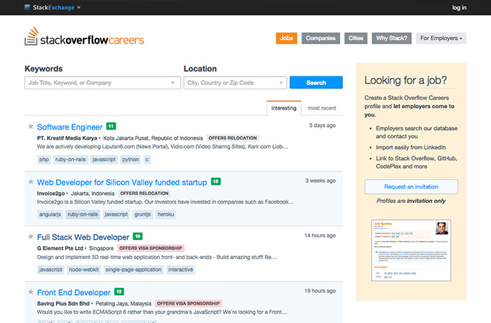 StackOverflow Job Listing