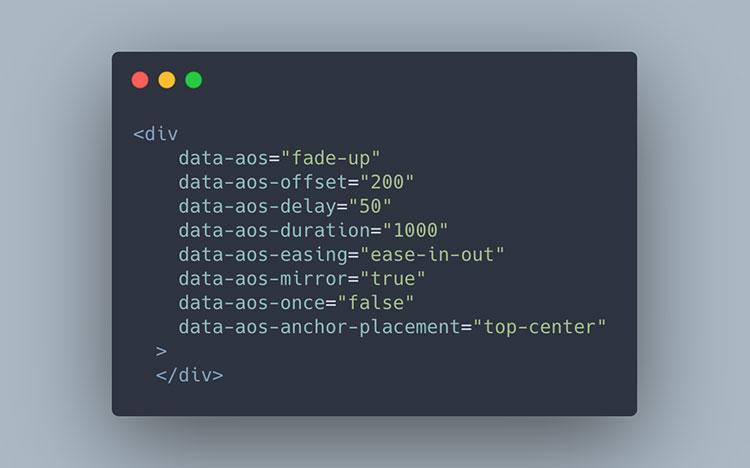 AOS example HTML code