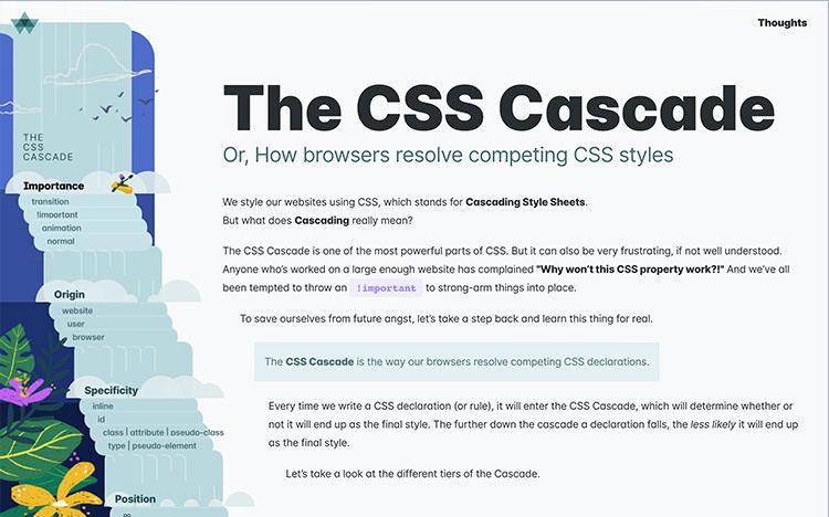 Web page of the 'CSS Cascade' article