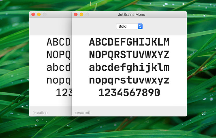 Jetbrains Mono specimen viewed in macOS Font app