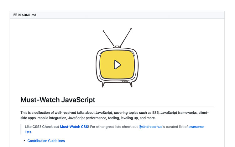 Must Watch Javascript repository in Github with a TV icon
