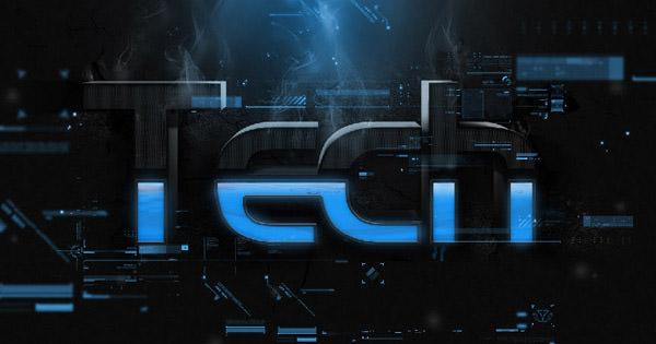 3d tech style text effect