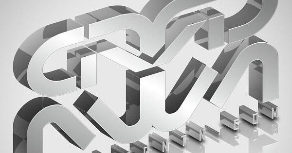 elegant glassy 3d typography