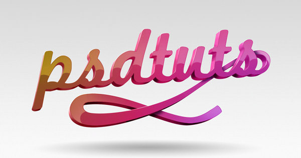 super glossy 3d typography effect