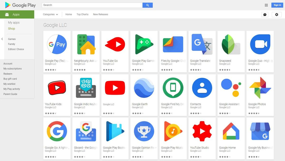Android apps and services by Google