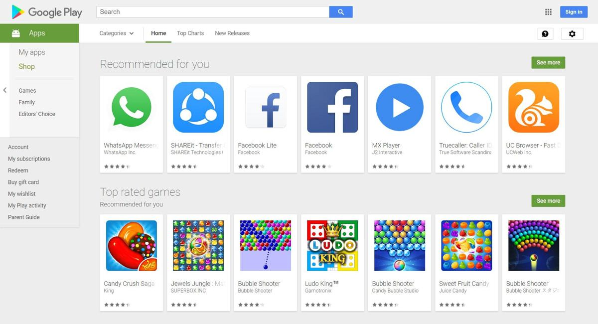 Google Play Store for Android OS