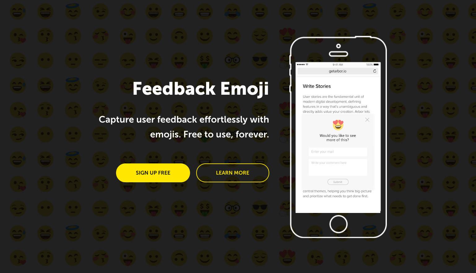 Feedback Emoji homepage