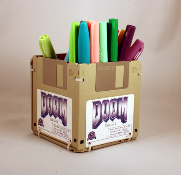 doom floppy disk pen holder