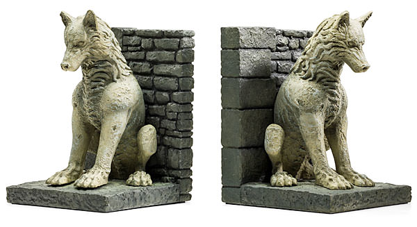 stark direwolf bookends