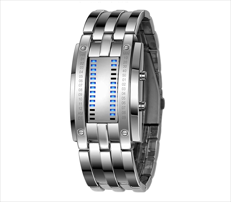 Binary Square Blue LED Watch