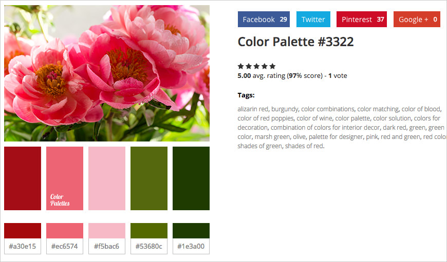 photo sample color palettes