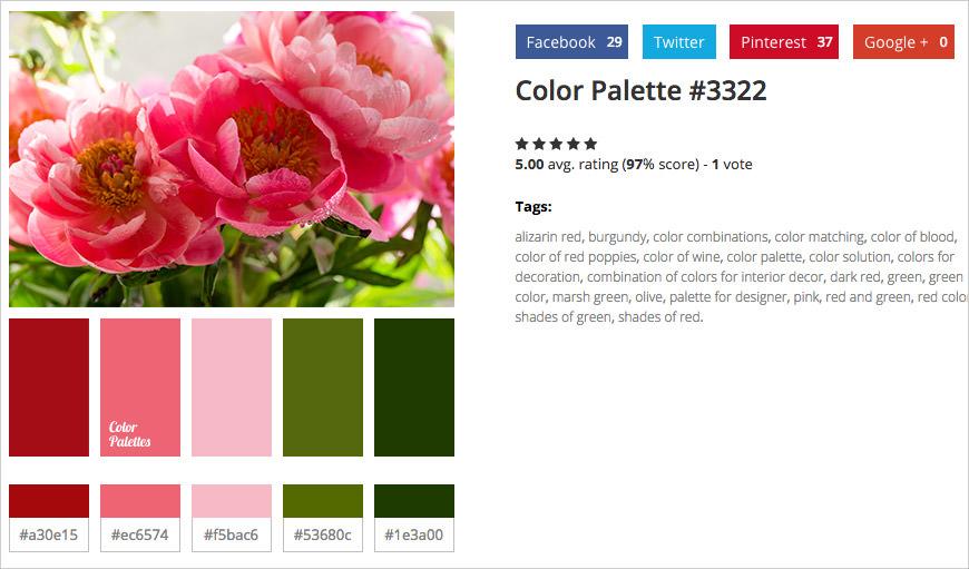 photo sample color palettes