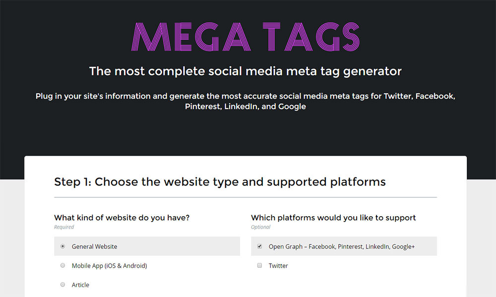 Mega Tags web app