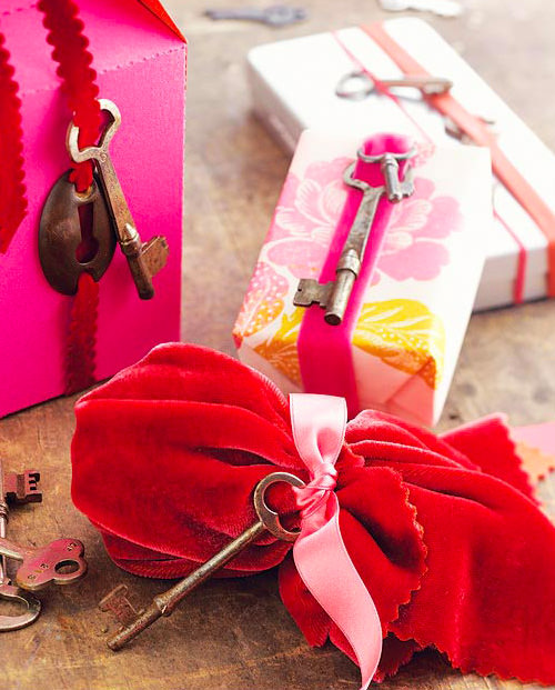 Vintage Key Gift Wrapping