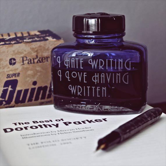 Etched Vintage Ink Bottles