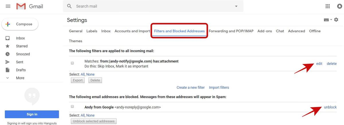 Check Filters and Blocked Addresses tab in Gmail