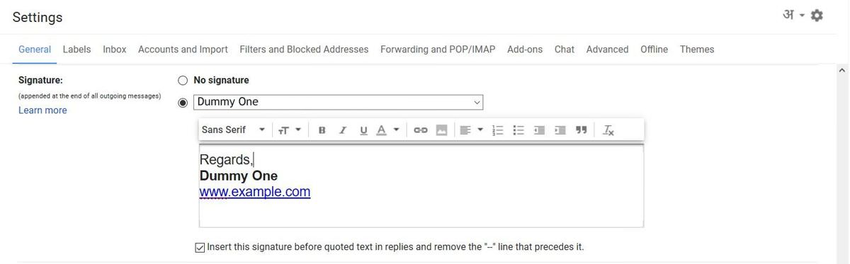 Check your signature in Gmail